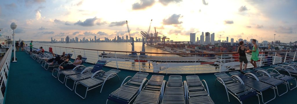 Sunset talks in Cartagena's cruise ship port.