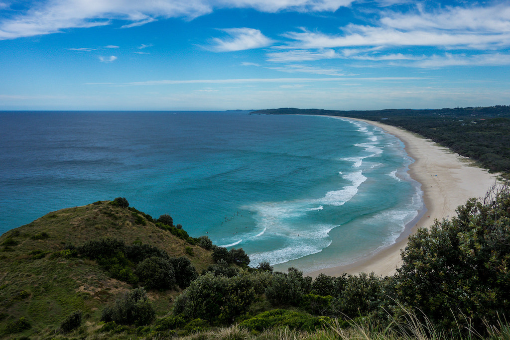 Bird's eye view onto Byron Bay in NSW, Australia